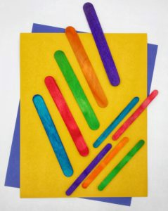 Colored craft sticks and tongue depressors